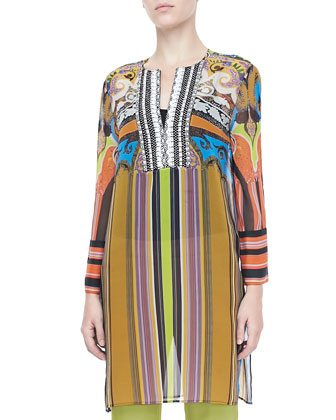 Paisley & Striped Caftan, Multicolor