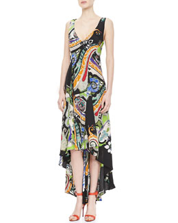 Etro Paisley Crepe de Chine Maxi Dress, Black/Multi