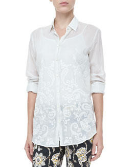 Etro Long-Sleeve Paisley Blouse, White