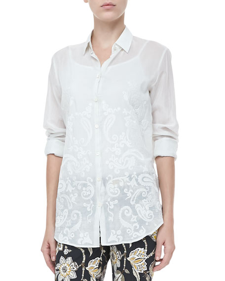 Long-Sleeve Paisley Blouse, White