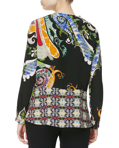 Paisley & Mixed-Print Blouse, Black/Multi