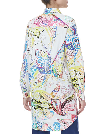 Oversized Button-Front Paisley Blouse, White/Multicolor