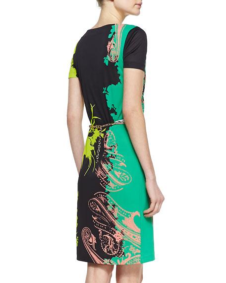 Belted Short-Sleeve Floral-Print Dress
