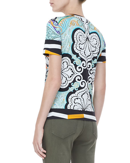 Short-Sleeve Paisley Tee, Orange/Blue