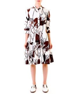 Marni Woodcut Lily-Print Poplin Dress, White/Burgundy
