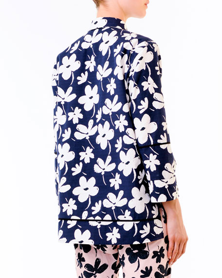 Floral High-Low Hem Cotton Tunic, Navy/White