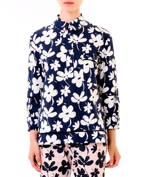 Floral High-Low Hem Cotton Tunic, Navy/White