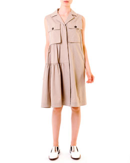 Marni Compact Cotton Safari Shirtdress, Khaki
