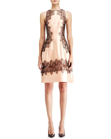 Embroidered A-Line Halter Dress, Blush/Black