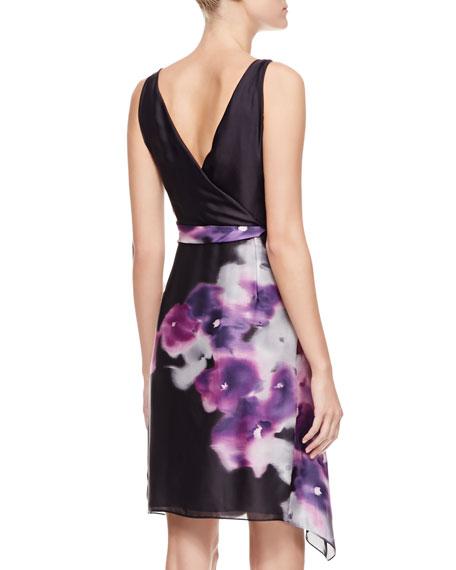 Floral-Print Organza Dress, Violet