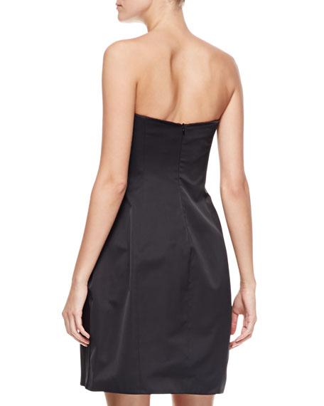 Peaked Strapless Taffeta Dress, Black