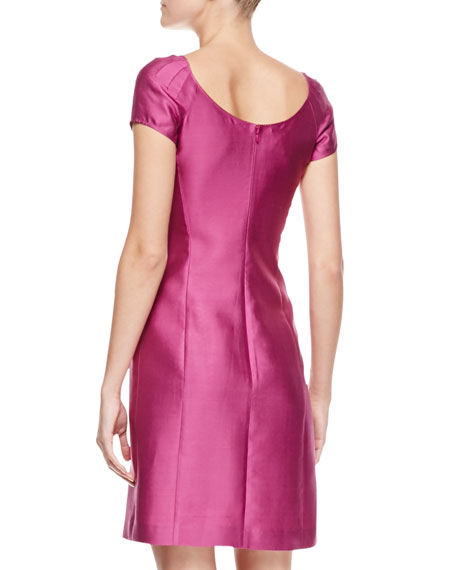 Short-Sleeve Gabardine Dress, Bougainvillea