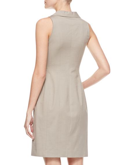 Sleeveless Stretch Cotton Shirtdress, Khaki