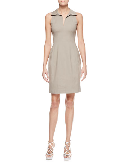 Sleeveless Stretch Cotton Shirtdress, Khaki