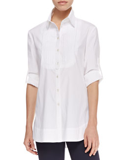 Armani Collezioni Stretch Poplin Tuxedo Shirt, White
