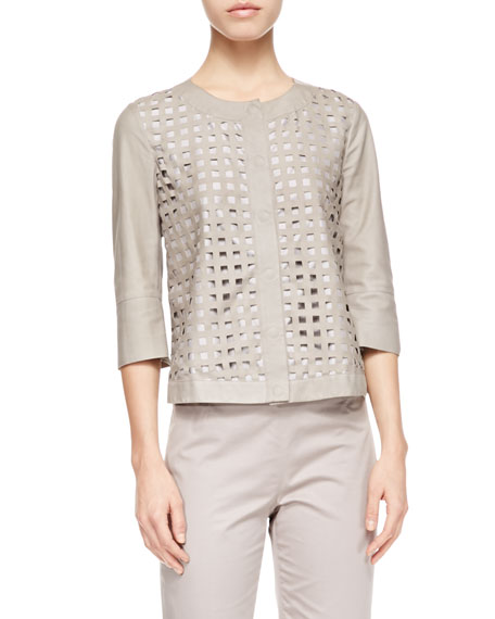 Perforated Leather Jacket, Chord Gray