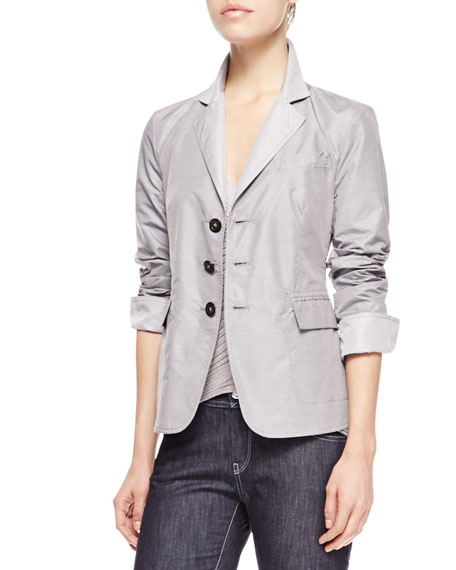 Reversible Tech Fabric Jacket, Slate/Limestone