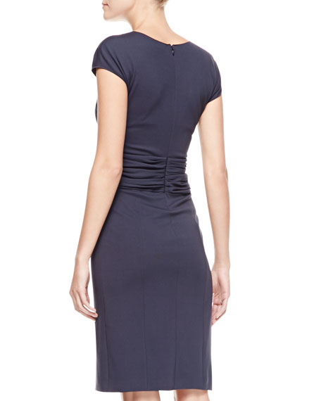 Ruched-Waist Surplice Dress, Zephyr Navy Blue