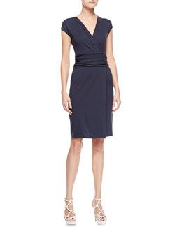 Armani Collezioni Ruched-Waist Surplice Dress, Zephyr Navy Blue