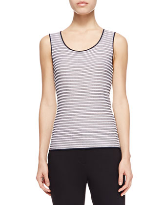 Sleeveless Striped Tank, Navy/Multi