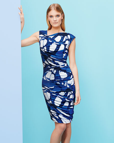 Butterfly-Print Ruched Jersey Dress, Azure Blue