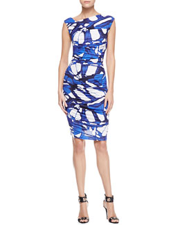 Escada Butterfly-Print Ruched Jersey Dress, Azure Blue