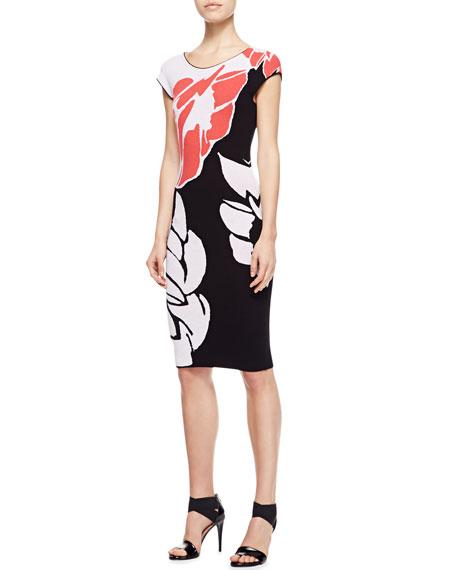 Lotus Intarsia Knit Cap-Sleeve Dress