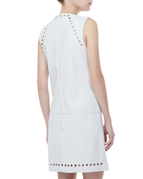Dot-Cutout Leather Dress, Off White