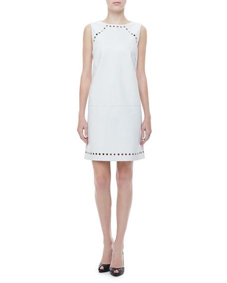 Dot-Cutout Leather Dress, Off White