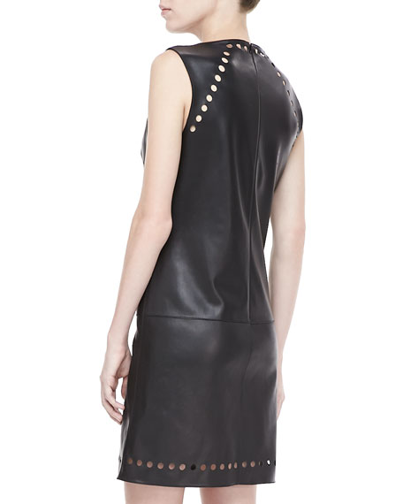 Dot-Cutout Leather Dress, Black