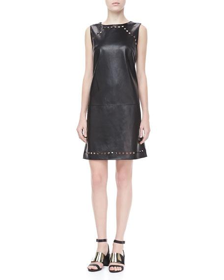 Dot-Cutout Leather Dress, Black