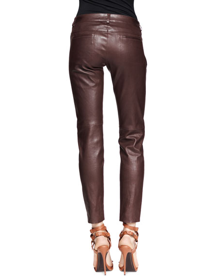 Leather Stretch Zip-Front Pants, Mocha