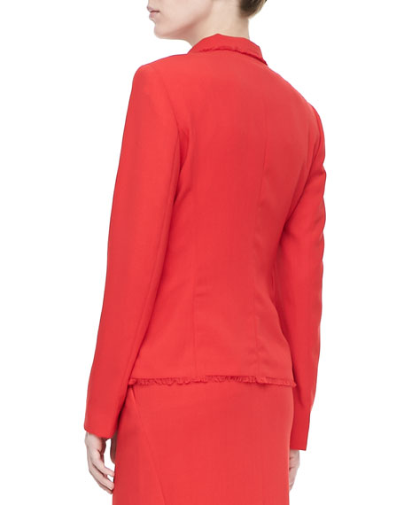 Fringe-Trim Two-Button Jacket, Poppy