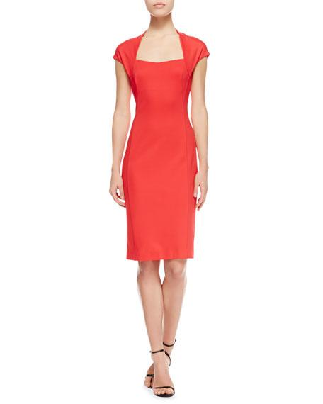 Dondi Cap-Sleeve Open-Neck Dress