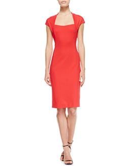 Escada Dondi Cap-Sleeve Open-Neck Dress