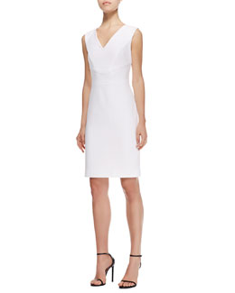 Escada V-Neck Straight Stretch Cotton Dress, White