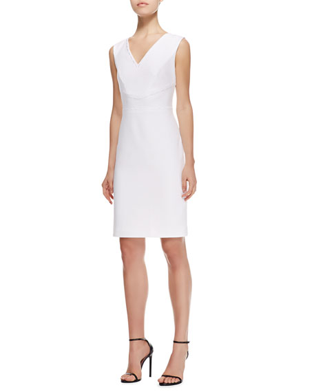 V-Neck Straight Stretch Cotton Dress, White