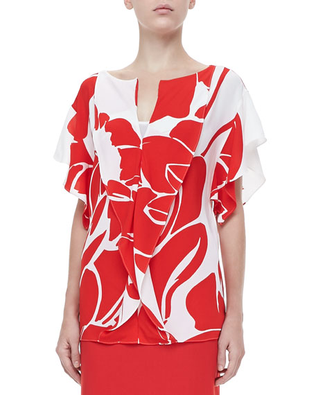 Lotus-Print V-Neck Blouse, Poppy/White