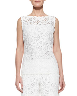 Escada Scalloped Floral Lace Tunic Top