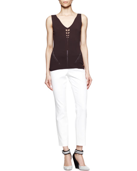 Straight Ankle Pants, White