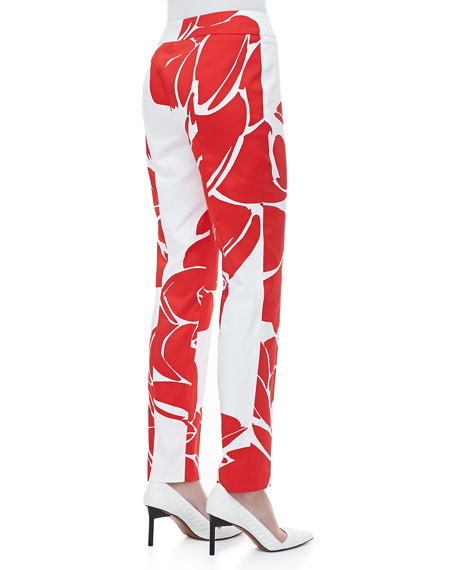 Lotus-Print Straight-Leg Pants, Poppy/White