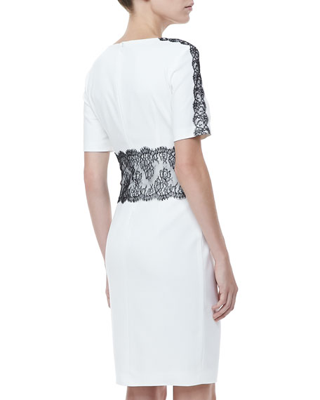 Lace-Trim Half-Sleeve Dress, White/Black