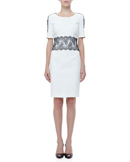 Escada Lace-Trim Half-Sleeve Dress, White/Black