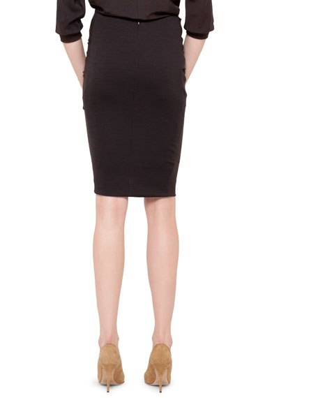 Ruched-Front Crepe Skirt, Brown