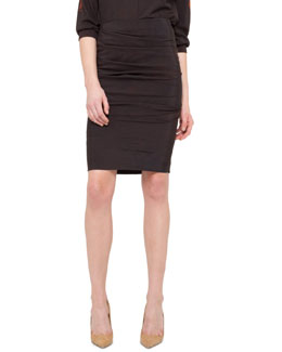 Akris Ruched-Front Crepe Skirt, Brown