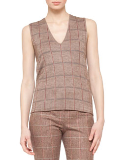 Akris V-Neck Sleeveless Plaid Intarsia Top