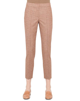 Akris Marcie Mini-Plaid Ankle Pants, Canary