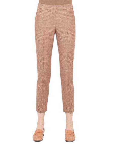 Marcie Mini-Plaid Ankle Pants, Canary