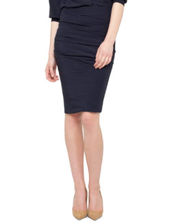 Akris Ruched Silk Skirt, Navy