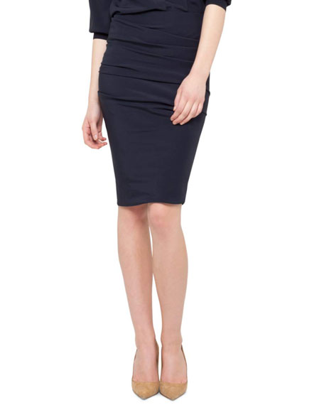 Ruched Silk Skirt, Navy